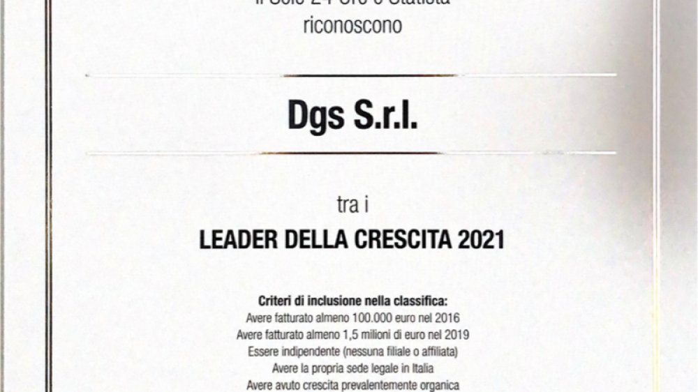 DGS SRL – LEADER OF GROWTH 2021