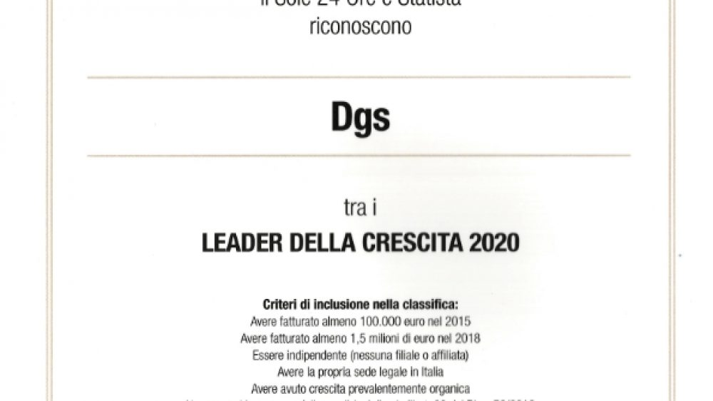 DGS SRL – LEADER DELLA CRESCITA 2020