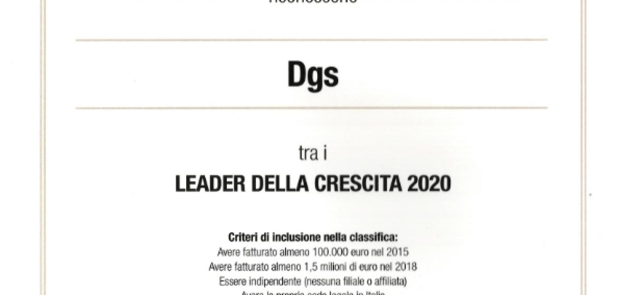 DGS SRL — LEADER OF GROWTH 2020